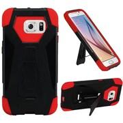 Insten Hard Dual Layer Plastic Silicone Cover Case w/stand For Samsung Galaxy S6 - Black/Orange