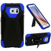 Insten Hard Dual Layer Plastic Silicone Case w/stand For Samsung Galaxy S6 - Black/Blue