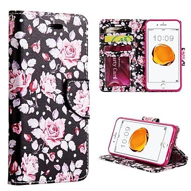 Insten Moon Light Rose Trndy Leather Flip Credit Card Wallet Stand Case For Apple iPhone 7 Plus - Red/Black