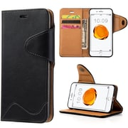 Insten Executive Luxury Leather Wallet Stand Case with Card Slots For Apple iPhone 7 Plus - Black