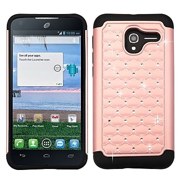 Insten Hard Dual Layer Rubberized Silicone Cover Case w/Diamond For Alcatel Stellar / Tru - Rose Gold/Black