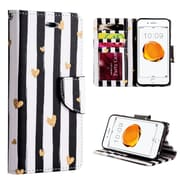Insten Chic Hearts Trndy Leather Flip Credit Card Wallet Stand Case For Apple iPhone 7 Plus - Black/White