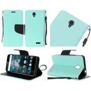 Insten Folio Leather Fabric Cover Case Lanyard w/stand For ZTE Warp 7 - Teal/Black
