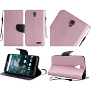 Insten Flip Leather Fabric Cover Case Lanyard w/stand For ZTE Warp 7 - Rose Gold/Black