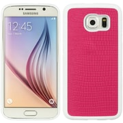Insten Crocodile TPU Skin Cover Case For Samsung Galaxy S6 - Hot Pink/White