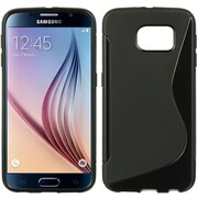 Insten S Shape TPU Cover Case For Samsung Galaxy S6 - Black