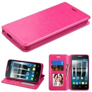 Insten Folio Leather Fabric Stand Card Case w/Photo Display For Alcatel One Touch Allura / Fierce 4 / Pop 4+ - Hot Pink