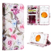 Insten Rose Aroma Trndy Leather Flip Credit Card Wallet Stand Case For Apple iPhone 7 / 6s / 6 - White/Purple
