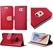 Insten Folio Leather Glitter Cover Case with Stand & Card slot holder For Samsung Galaxy S6 - Red/Gold