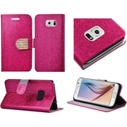 Insten Flip Leather Glitter Cover Case with Stand & Card slot For Samsung Galaxy S6 - Hot Pink/Gold