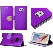 Insten Folio Leather Glitter Case with Stand & Card holder slot For Samsung Galaxy S6 - Purple/Gold