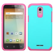 Insten Hard Dual Layer Rubberized Silicone Cover Case For Alcatel One Touch Elevate - Teal/Hot Pink