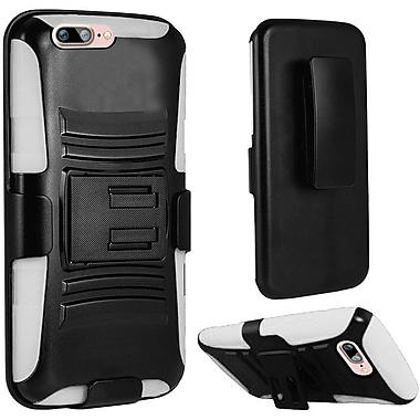 Insten Hard Dual Layer Plastic Silicone Case w/Holster For Apple iPhone 7 Plus - Black/White