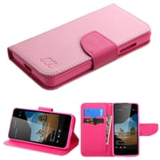 Insten Book-Style Leather Fabric Cover Case w/stand/card slot For Microsoft Lumia 550 - Hot Pink