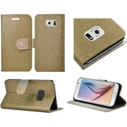 Insten Book Style Leather Glitter Case with Stand & Card Holder For Samsung Galaxy S6 - Gold