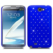 Insten Hard Rubberized Case with Diamond For Samsung Galaxy Note 2 II - Blue