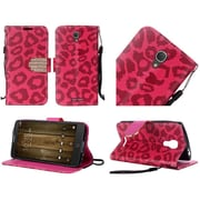 Insten Leopard Book-Style Leather Stand Case with Lanyard For Alcatel One Touch Fierce 4 / Pop 4 Plus - Red/Black