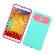 Insten Two-Tone/NightGlow Jelly Hybrid Hard Silicone Case Cover For Samsung Galaxy Note 3 - Mint Green/Hot Pink