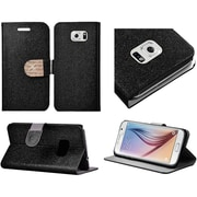 Insten Flip Leather Glitter Case with Stand & Card slot For Samsung Galaxy S6 - Black/Gold
