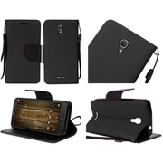 Insten Folio Leather Fabric Case Lanyard w/stand For Alcatel One Touch Fierce 4 / Pop 4 Plus - Black