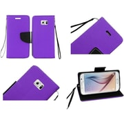 Insten Folio Leather Case with Lanyard Stand Card slot For Samsung Galaxy S6 - Purple/Black