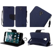 Insten Folio Leather Fabric Cover Case Lanyard w/stand For ZTE Warp 7 - Blue/Black