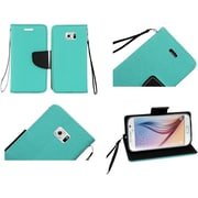 Insten Flip Leather Fabric Case Lanyard w/stand/card slot For Samsung Galaxy S6 - Teal Green/Black