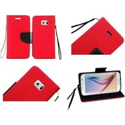 Insten Flip Leather Fabric Case Lanyard w/stand/card holder For Samsung Galaxy S6 - Red/Black