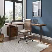 "Bush Furniture Architect 60""W L-Shaped Desk with Drawers, Modern Walnut (ACD260MW-03K)"