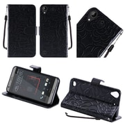 Insten Textured Rose Flower Design Leather Wallet Flip Cover Case For HTC Desire 530 - Black