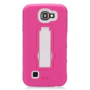 Insten Symbiosis Armor Hybrid Hard Stand Shockproof Case Back Cover For LG K3 LS450 - Hot Pink/White