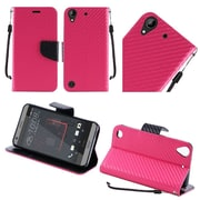 Insten Textured Carbon Fiber Leather Wallet Flip Cover Protective Case For HTC Desire 530 - Hot Pink