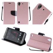 Insten Textured Carbon Fiber Leather Wallet Flip Cover Protective Case For HTC Desire 530 - Rose Gold