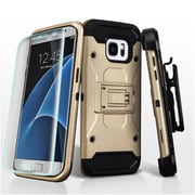 Insten Hard Hybrid Cover Case w/Holster + Full Coverage Screen Protector For Samsung Galaxy S7 Edge - Gold/Black