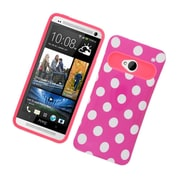 Insten Two-Tone/NightGlow Polka Dots Jelly Hybrid Hard Silicone Case Cover For HTC One M7 - Hot Pink