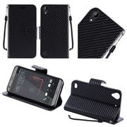 Insten Textured Carbon Fiber Leather Wallet Flip Cover Protective Case For HTC Desire 530 - Black