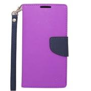 Insten Flip Wallet Leather Case with Card Slot & Lanyard For Motorola Droid Turbo - Purple/Blue
