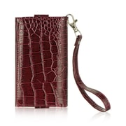 "Insten Universal Wallet-Style Carrying Case Compatible with 4"" to 5"" Smartphones, Burgundy Crocodile"