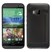 Insten Hard Dual Layer Silicone Cover Case w/card holder For HTC One M9 - Black