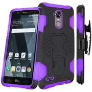 Insten SuperCoil Hybrid Premium Dual Layer Kickstand Holster Case For LG Stylo 3 / Stylo 3 Plus - Black/Dark Purple