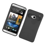 Insten Two-Tone/NightGlow Jelly Hybrid Hard Silicone Case Cover For HTC One M7 - Black