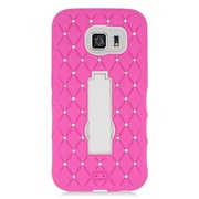 Insten Symbiosis Hard Dual Layer Rubber Silicone Case w/stand/Diamond For Samsung Galaxy S6 - Hot Pink/White