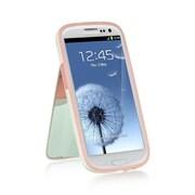 Insten Flip Mirror Stand Card TPU Rubber Gel Skin Back Case For Samsung Galaxy S3 - White