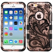 Insten Tuff Phoenix Flower Hard Dual Layer Silicone Case For Apple iPhone 6 / 6s - Rose Gold/Black