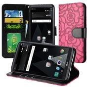 Insten Textured Rose Flower Design Leather Wallet Flip Cover Case For LG Aristo / LV3 - Hot Pink