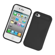 Insten Two-Tone/NightGlow Jelly Hybrid Hard Silicone Case Cover For Apple iPhone 4 / 4S - Black