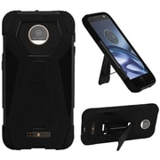 Insten Hard Hybrid Plastic Silicone Case w/stand For Motorola Moto Z Droid - Black