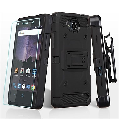 Insten Hard Dual Layer TPU Case w/Holster (+ Tempered Screen Protector) For ZTE Tempo - Black