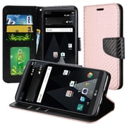 Insten Textured Carbon Fiber Leather Wallet Flip Cover Protective Case For LG Aristo / LV3 - Rose Gold