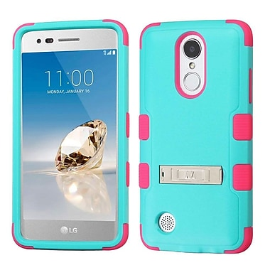 Insten TUFF Hybrid Stand Case For LG Aristo / Fortune / K8 (2017) / LV3 / Phoenix 3 - Teal Green/Electric Pink